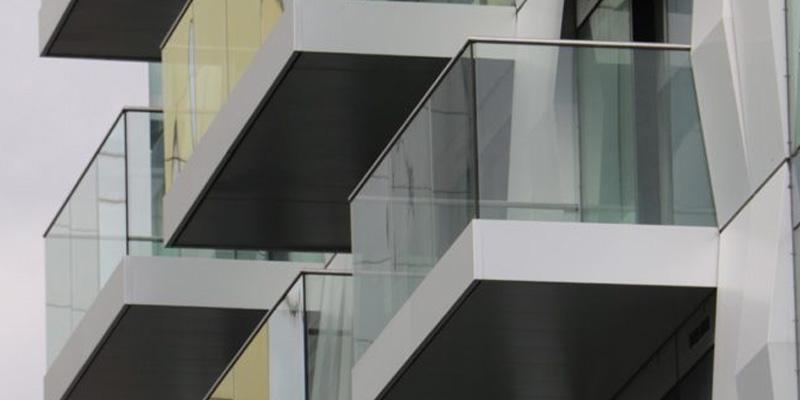 Anodised fascias on glass balconies
