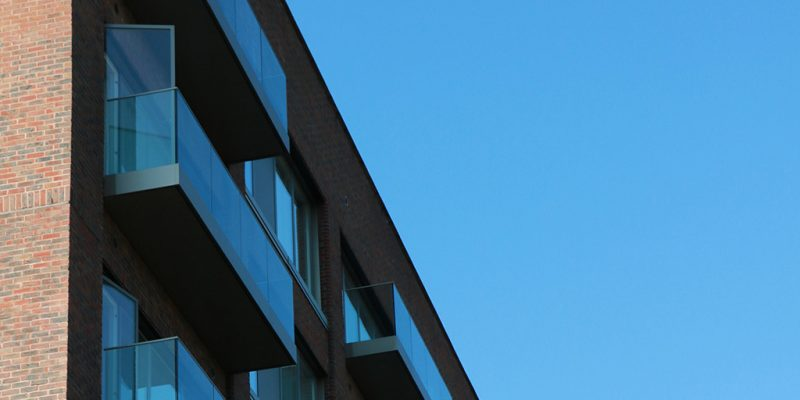 Balconies on a building converted from offices to residential