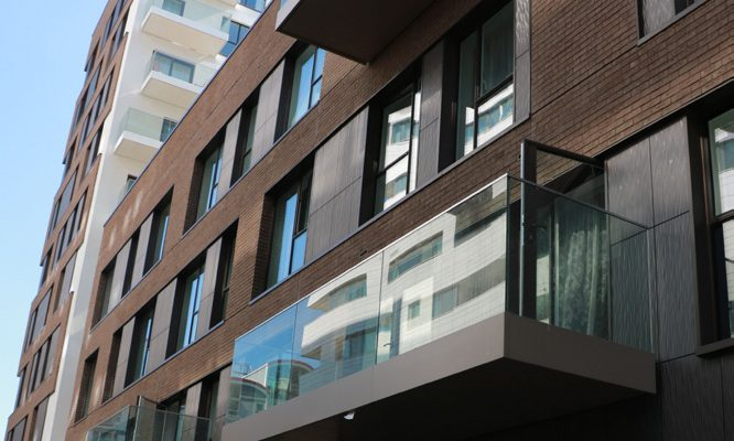 Mixed selection of balcony soffits and fascias colours to complement facade