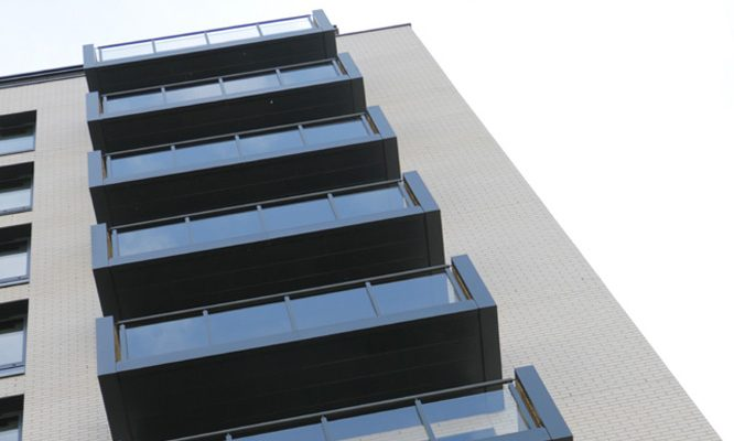 Suttons Wharf balconies with Grey soffits and balustrades