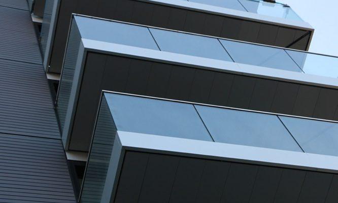 North London corner balconies with anodized fascias
